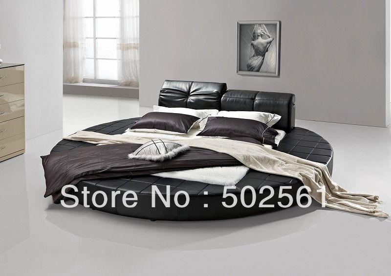 Contemporáneo de california Rey cama redonda de cuero genuino ...