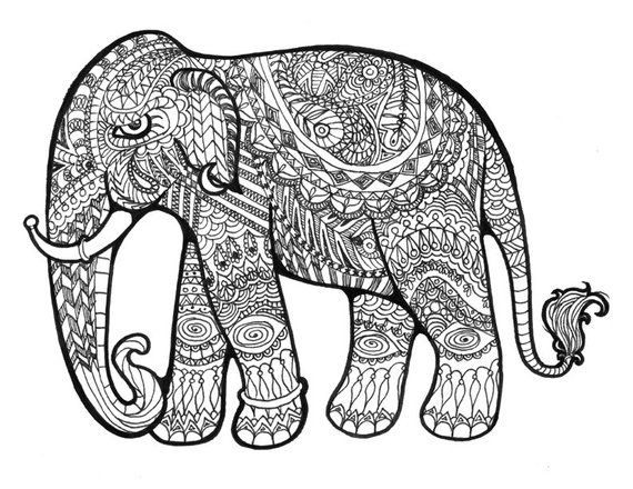 paisley elephant, decorative, pattern, wall art, black and white, pen and ink, art print is part of Elephant coloring page - This gorgeous drawing was created using pen and ink  It was inspired by a wooden elephant my brother brought from India  I was inspired by henna patterns and designs and incorporated that style within the elephant shape  This delightful piece of wall art has been consistently one of my best sellers