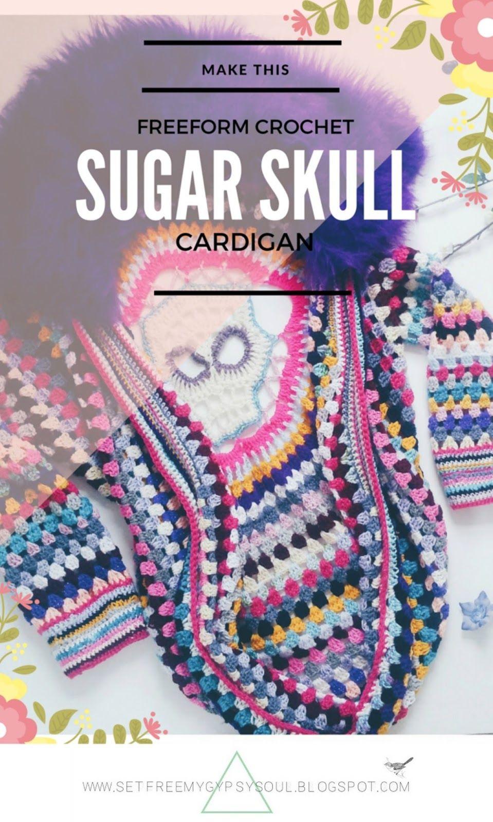 Free Crochet Pattern   Freeform Crochet Sugar Skull Cocoon Cardigan with Faux…