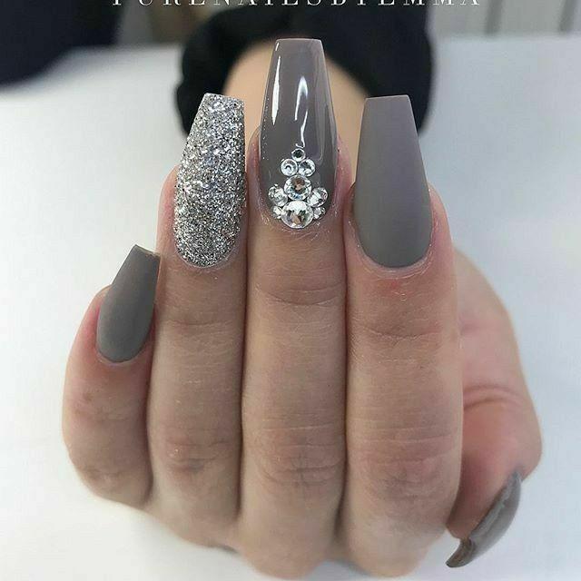 Ballerina Nails. Gray Nails. Glitter Nails. Nails With Rhinestones ...
