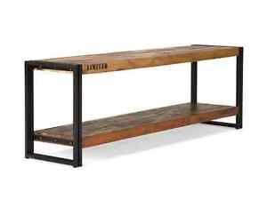 Lowboard Tv Bank 160cm Antik Holz Metall Designer Industrie Moebel