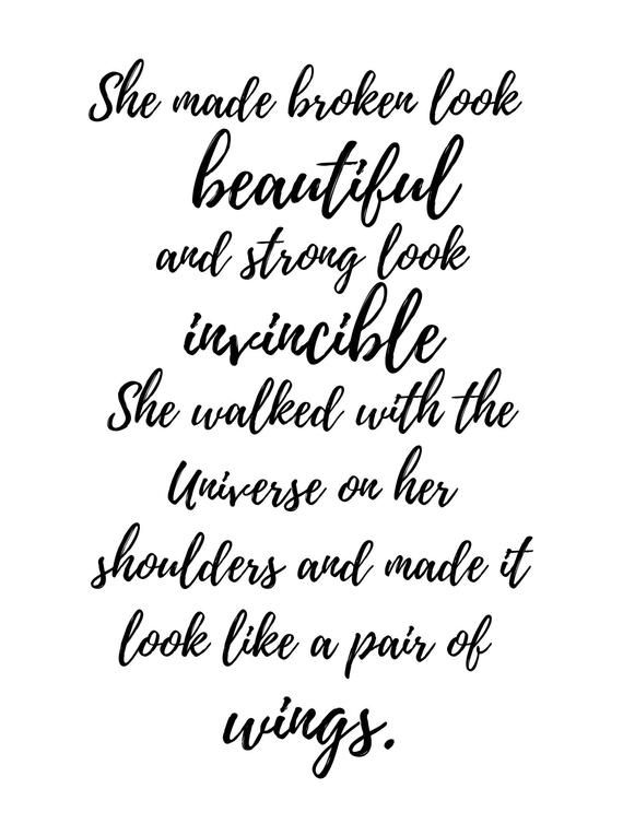 She made broken look beautiful typography wall art poem home decor inspirational quote inspiring gift for her mothers day gift ariana poem is part of Inspirational quotes - This typography wall art print, gallery art, poem print decor, inspiring quote typography is perfect as a chic and poetic wall decor for your home or office or as a thoughtful gift  Poem displayed is my original poem,  She made broken look beautiful   In buying this print, you're supporting my poetry and buying from the original source  ) All other prints and reproductions are copyright infringements and unauthorized copies of my poetry  She made broken look beautiful and strong look invincible  She walked with the Universe on her shoulders and made it look like a pair of wings   Typography wall art print, printed on archival quality paper, hand cut, available in multiple sizes, please let me know if you would like a custom size or colour  Glossy and matte finish available  I can make any of my original poems into a print  If you see one of my poems that you would like made into a print, just let me know! Poster will come signed on the back with author's (my) signature  ) Mat and frame are not included  Any shipping overages that occur will be refunded  This poem is copyrighted material and cannot be reproduced in any way  she made broken look beautiful typography wall art poem home decor inspirational quote inspiring gift for her mothers day gift ariana poem
