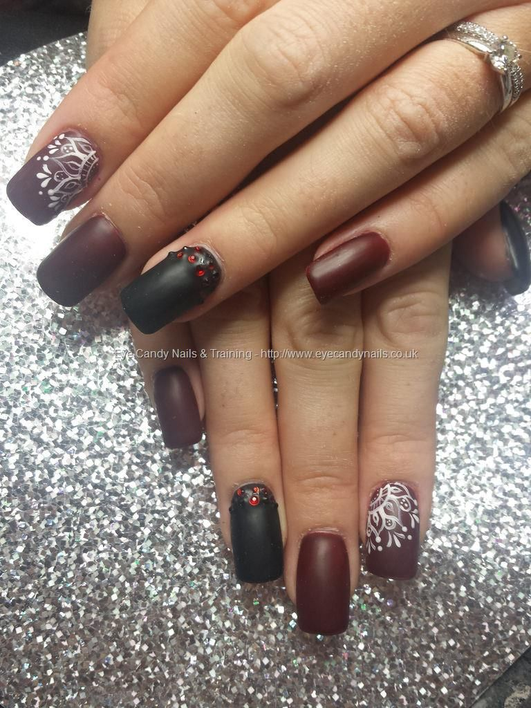 Deep burgandy and black matt gel polish with freehand lace nail art ...