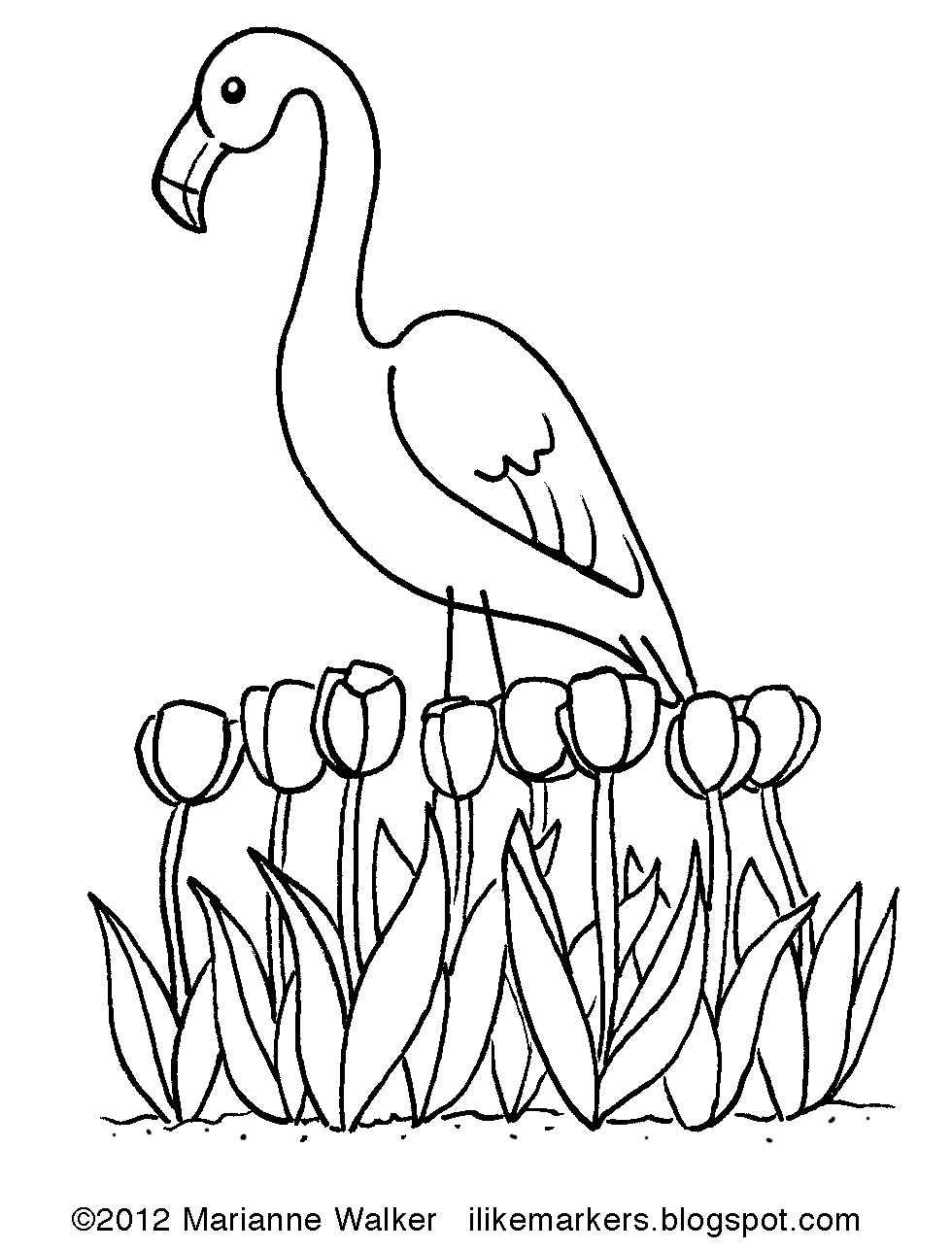 Spring Flamingo by Marianne Walker Animal coloring pages