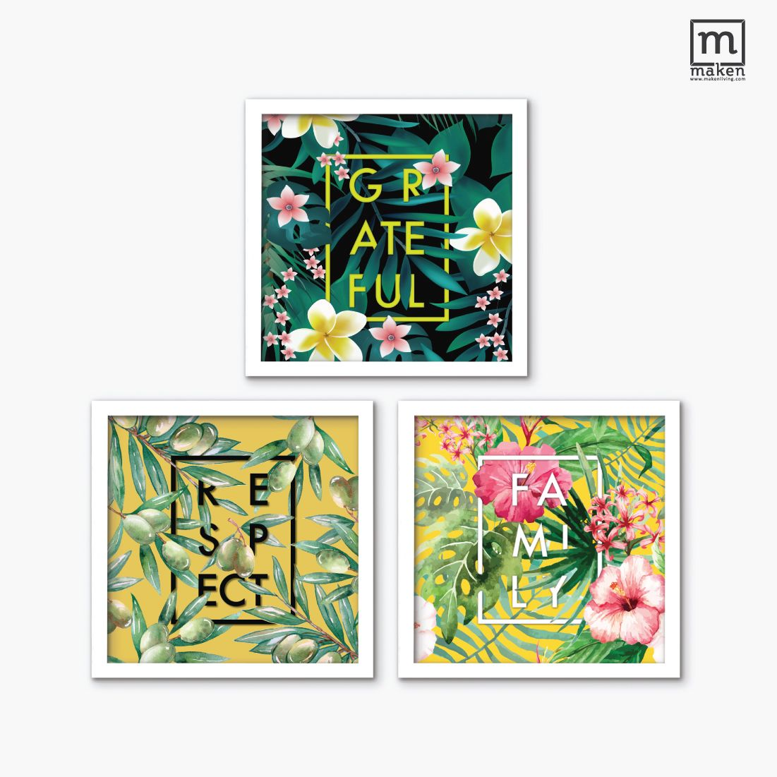 Happy Bundle for Family Room | Maken Wall Decoration | Ready Design | | White frame | 30cmx30cm (3 pcs)