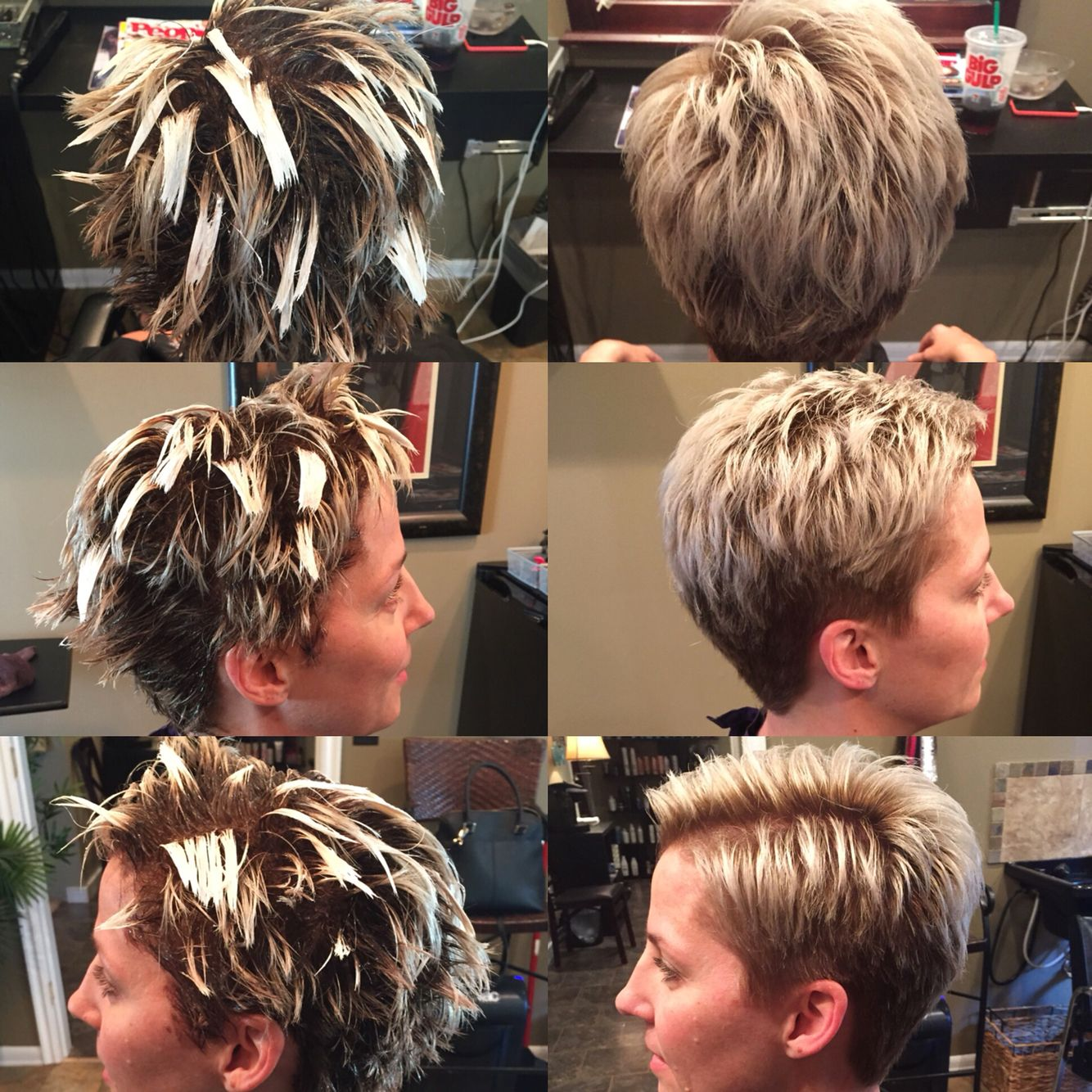balayage super short hair