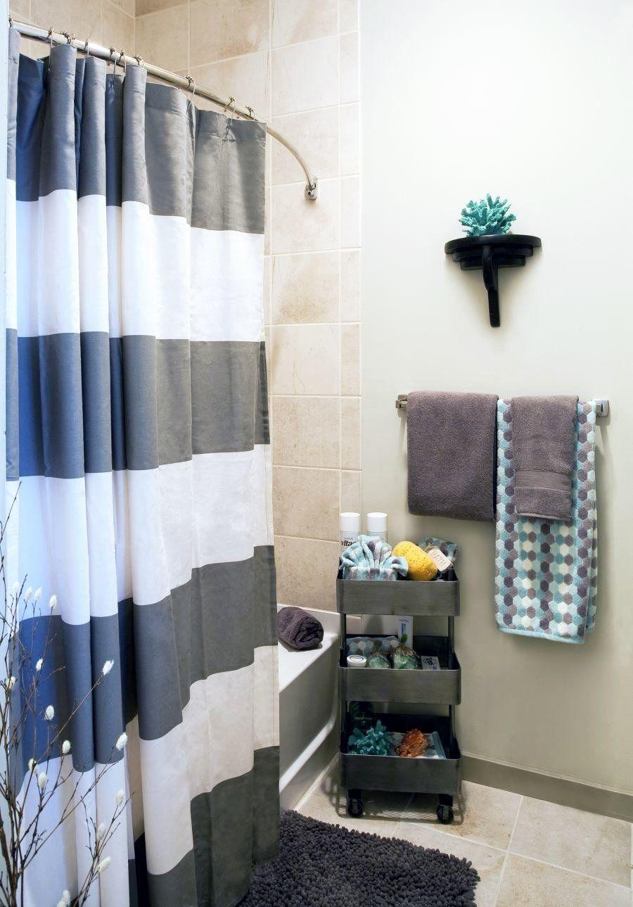Bathroom Shower Curtain Decorating Ideas Beautiful Grey Bathroom Shower In 2020 Bathroom Decor Apartment Diy College Apartment Decor Bathroom Decorating Shower Curtain