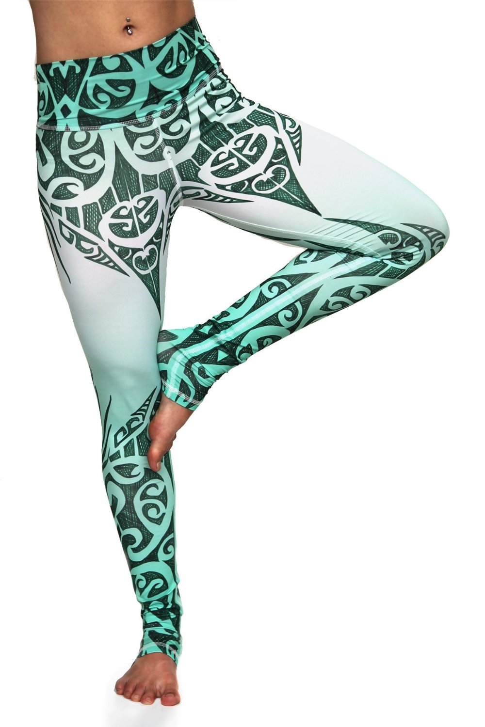 6599692194f01 Jade Queen high waisted extra long yoga pants with exotic green and white  tribal design made from premium sweat wicking Italian fabric.