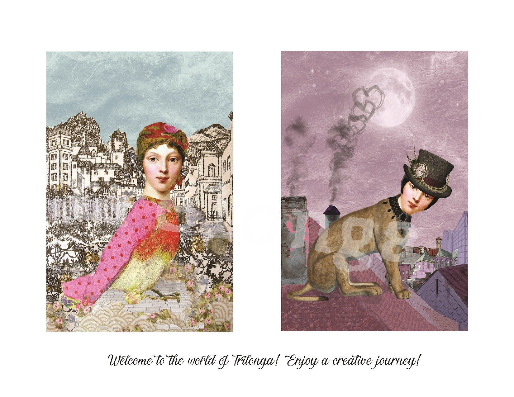 digital cards mixed media art collage Trelonga instant download collage sheet 6x4 inches digital art Digital collage sheet ETQ06