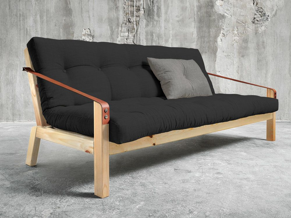 canape convertible en bois avec matelas futon et accoudoirs cuir poetry