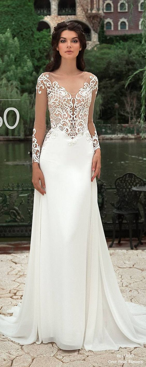 Long sleeve lace elegant bridal gown mermaid sheath beach wedding