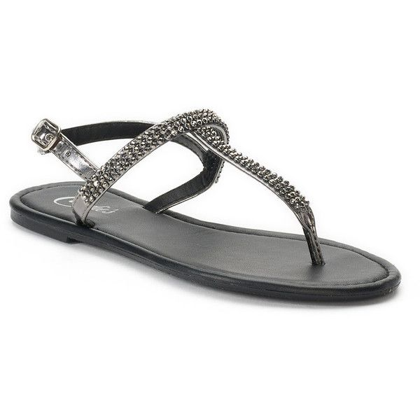 19d97c6bc Women s Candies® Bling T-Strap Sandals (23 AUD) ❤ liked on Polyvore  featuring shoes
