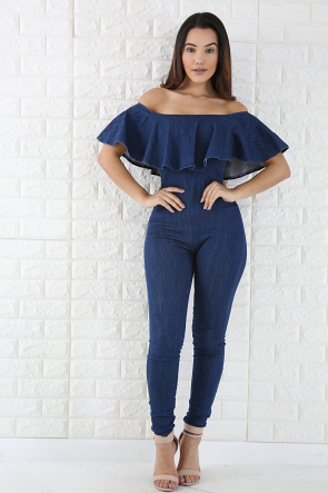 4cb1b768860 Flare Denim jumpsuit