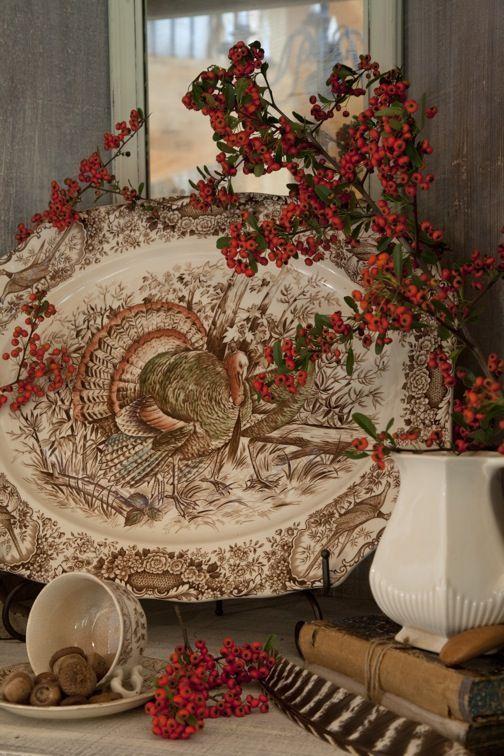 Lovely Turkey Platter Thanksgiving Vintage Thanksgiving
