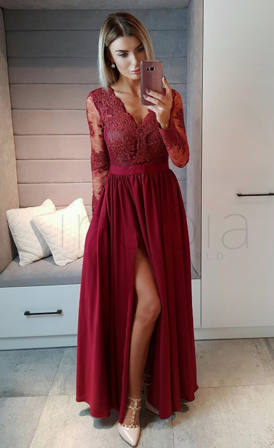 99e70df9f3b3 Long Sleeves Wine Red Formal Occasion Dress Burgundy Prom Dresses Blue Party  Dresses