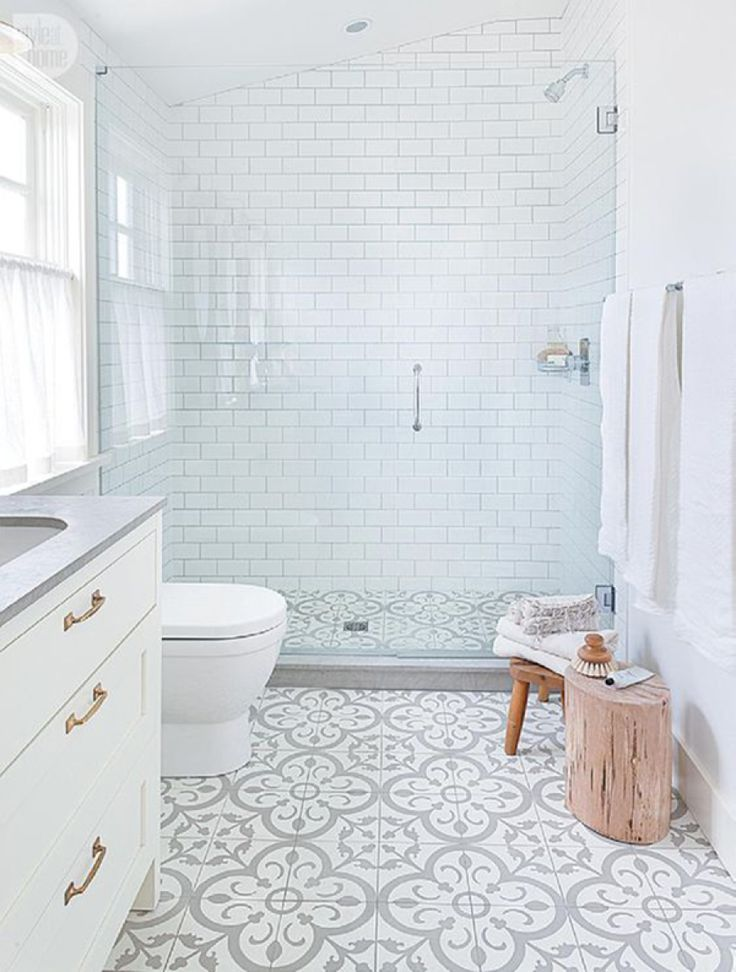 Patterned tiles create a suave finish to any white bathroom ...