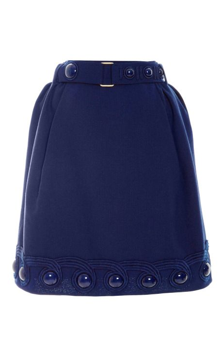 Blue Wool Crepe Skirt With Belt by Marc Jacobs for Preorder on Moda Operandi