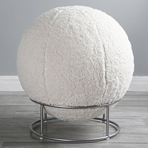 Best Home Fashion Sherpa Kushy Cushy Faux Fur Yoga Ball
