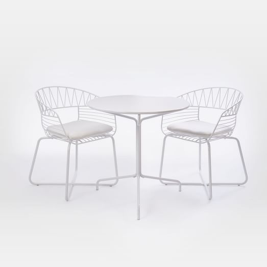 Soleil Metal Outdoor Bistro Dining Set   Table + 2 Chairs