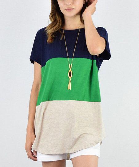 éloges Navy & Green Colorblock Tunic | zulily