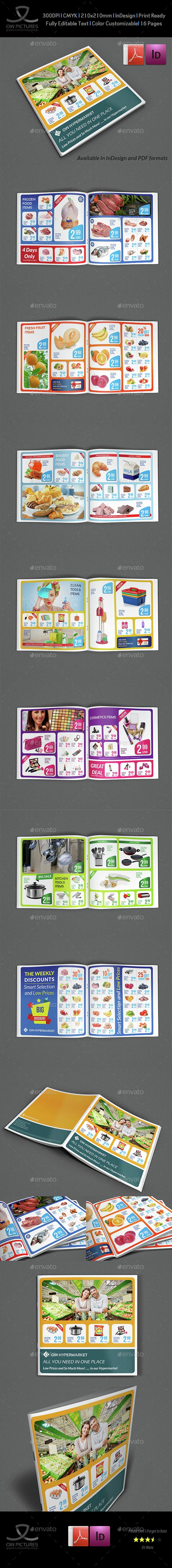 Supermarket Products Catalog Brochure Template InDesign INDD ...