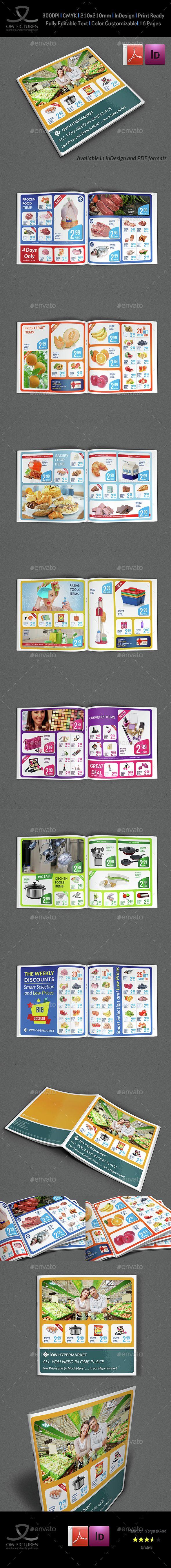 Supermarket Products Catalog Brochure Template Vol3 | Folletos y Navidad