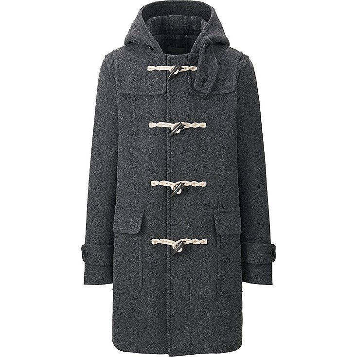 MEN WOOL BLEND DUFFLE COAT, DARK GRAY, large | Coats and Jackets ...