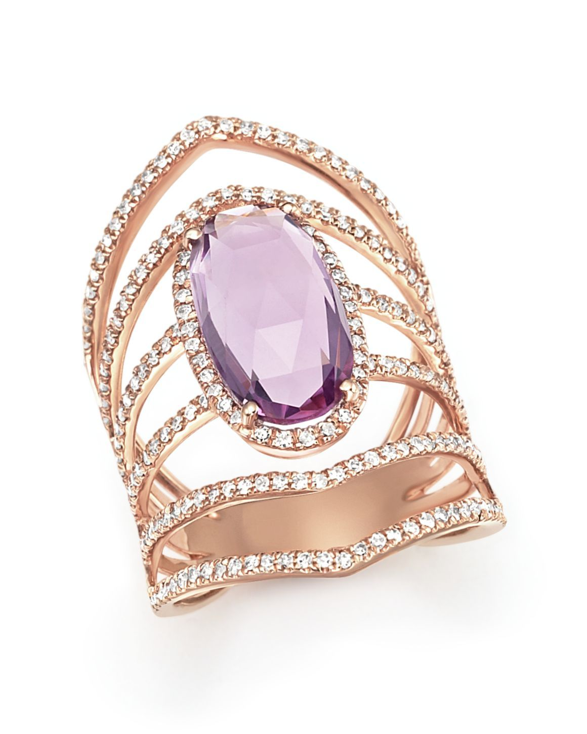 Amethyst and Diamond Geometric Ring in 14K Rose Gold Jewlery