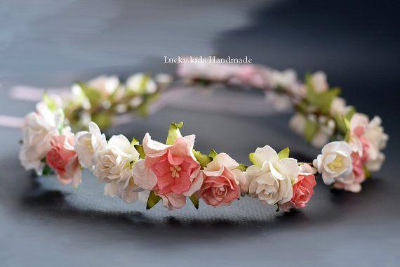 Fiore avorio e rosa corona nuziale corona di LuckyKidsHandmade