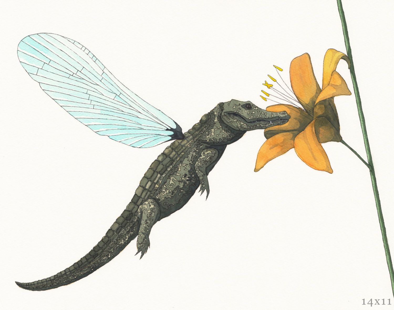 Crocodile Dragonfly by GreensofJune on Etsy