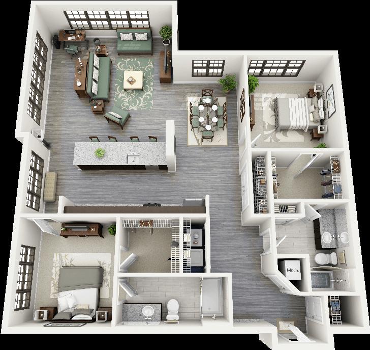 Parrish Two Bedroom Apartment Floorplan Durham North Carolina Apartment Floor Plans Apartment Decorating For Couples 3d House Plans