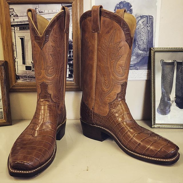 8ec6e65844d Custom alligator cowboy boots. Cognac vamps and uppers, Beck 5 row ...