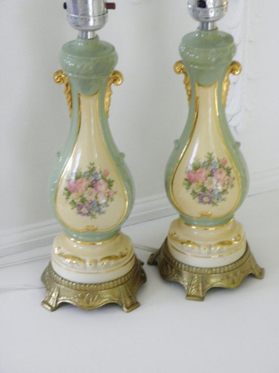 Pair Vintage Table Lamps, French Provincial, 30s, 40s ...