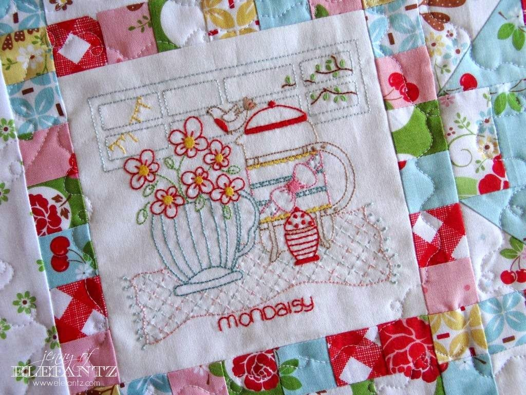 Full pdf Daisy Days quilt pattern with 8 stitcheries and 10 patchwork blocks with borders is 50% off until December 31st, 2014!