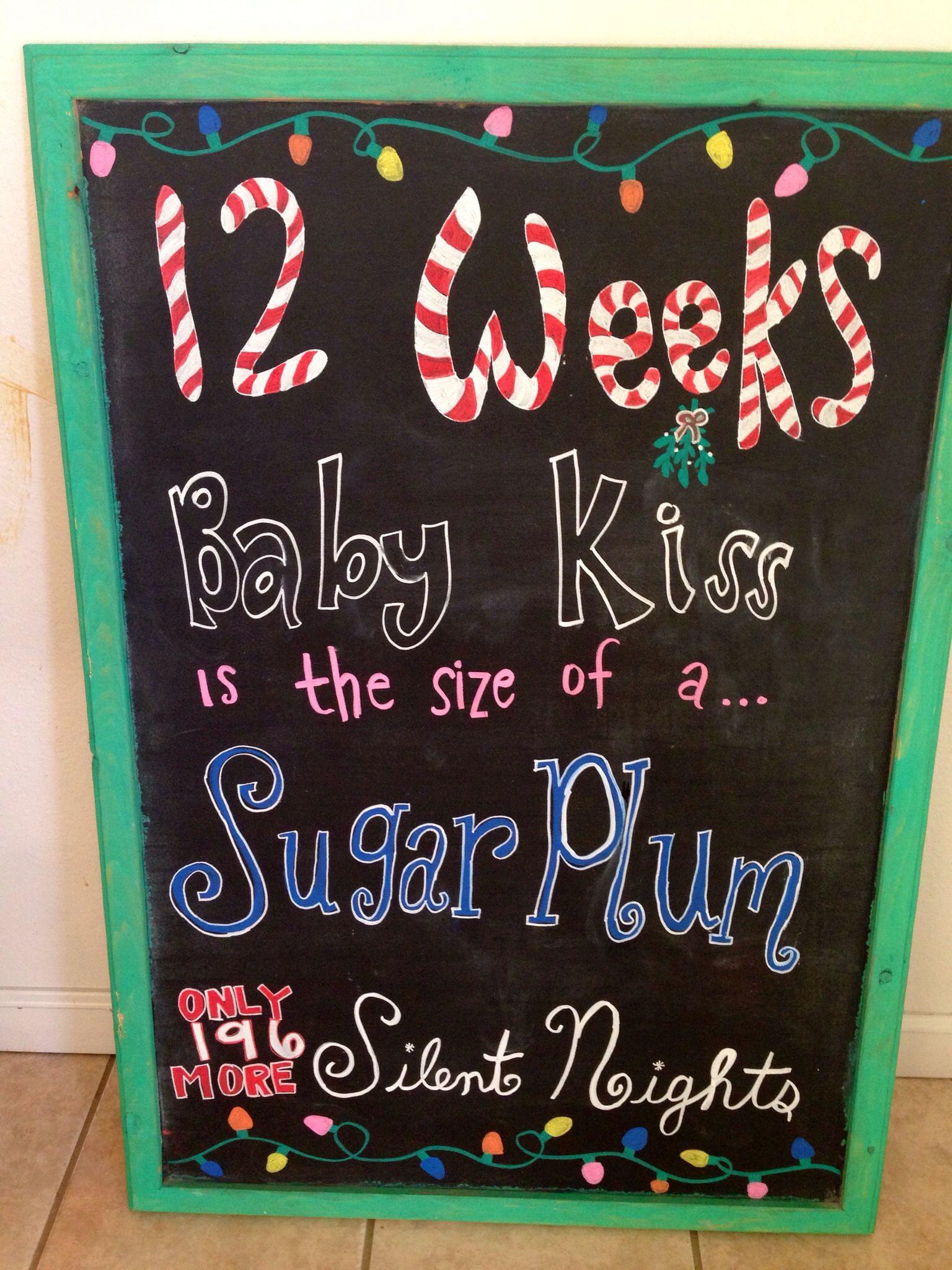 12 weeks Christmas pregnancy chalkboard