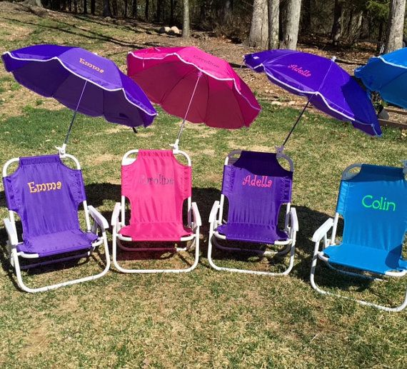 Child Camping Chair Medicine Ball S Personalized Beach With Umbrella Sand Folding Name Initials Monogram By Funkyflamingoboutiqu
