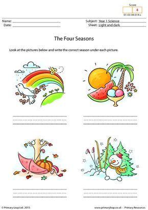 writing the four seasons worksheet summer season schule kinder. Black Bedroom Furniture Sets. Home Design Ideas