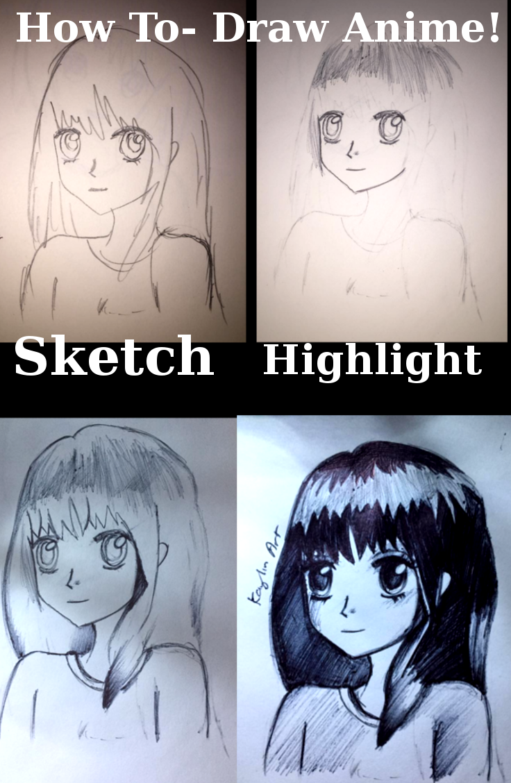 How to draw a simple anime girl in ball point pen