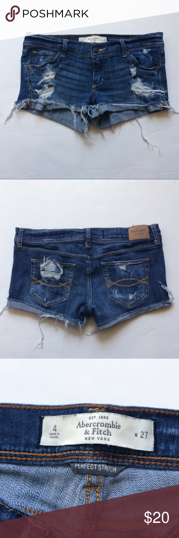 Abercrombie Distressed Jean Denim Shorts Great condition!  No flaws. Perfectly distressed.  Size 4. 27 waist. No trades. Abercrombie & Fitch Shorts Jean Shorts