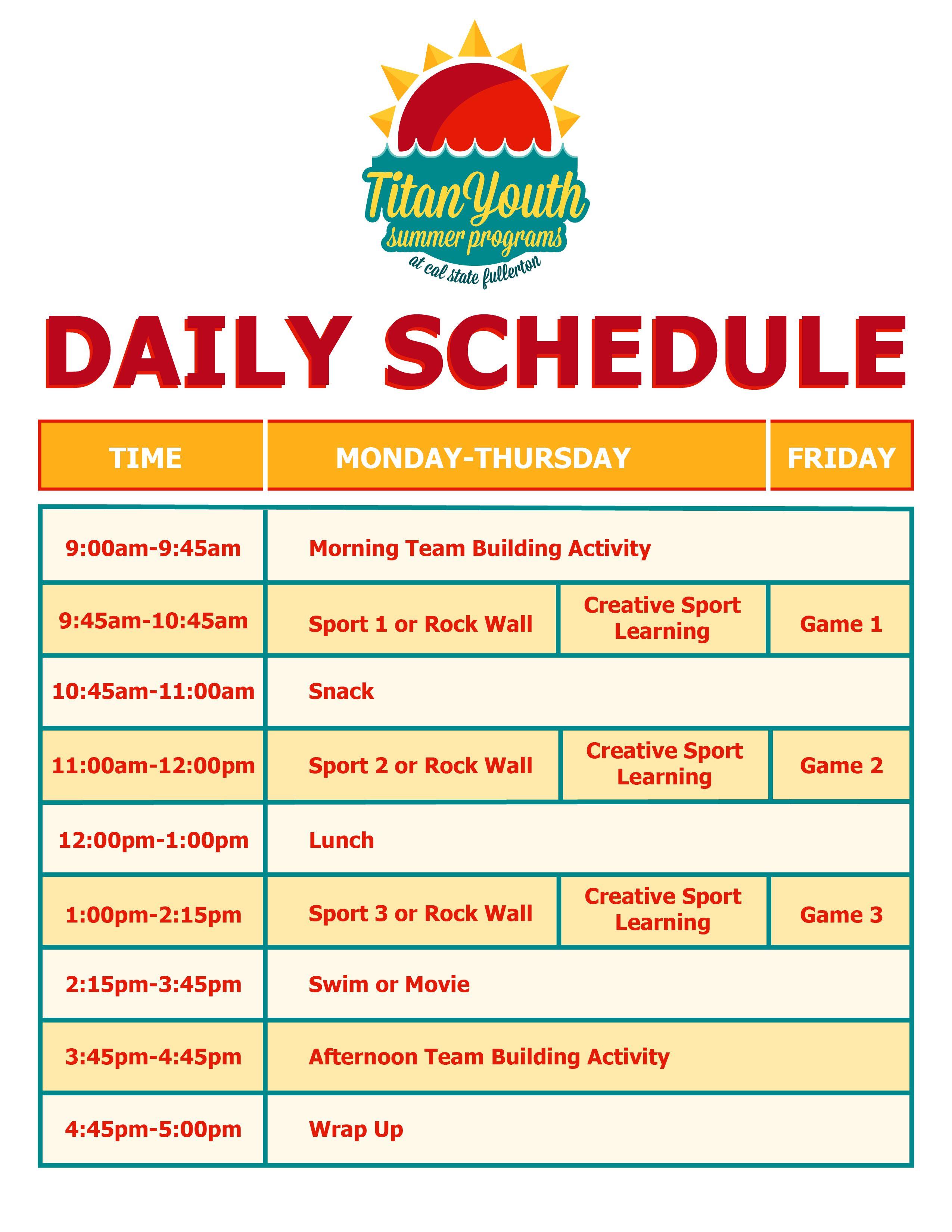jun 12th 2015 summer camp daily schedule  taekwondo