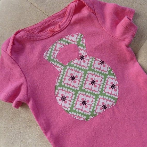 Little macho girl Kettle Bell applique shirt or by ThisPretty, $19.95
