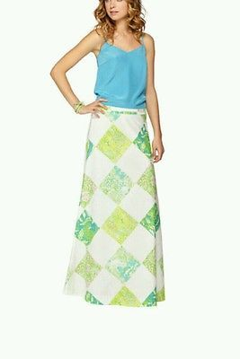 NWT Lilly Pulitzer Harper skirt maxi Resort White lioness patch 00 S