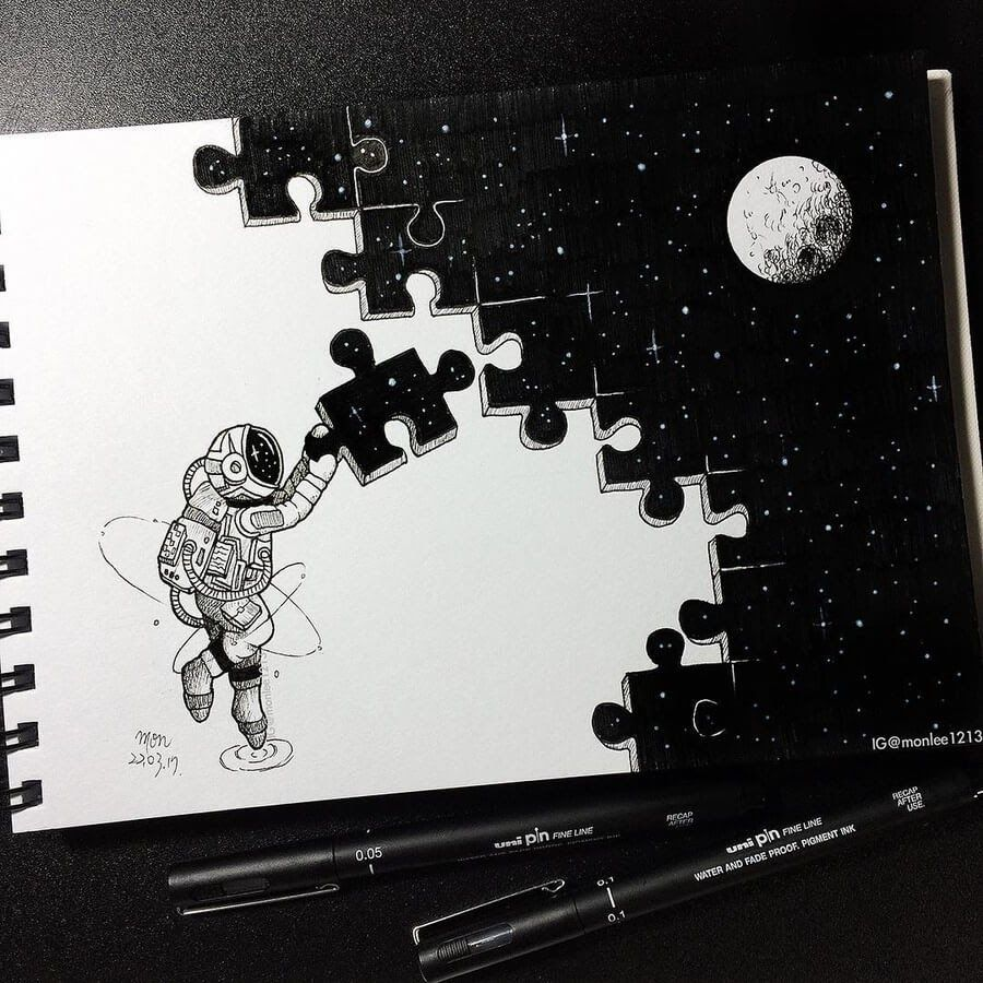Ink Drawings Mostly in Space