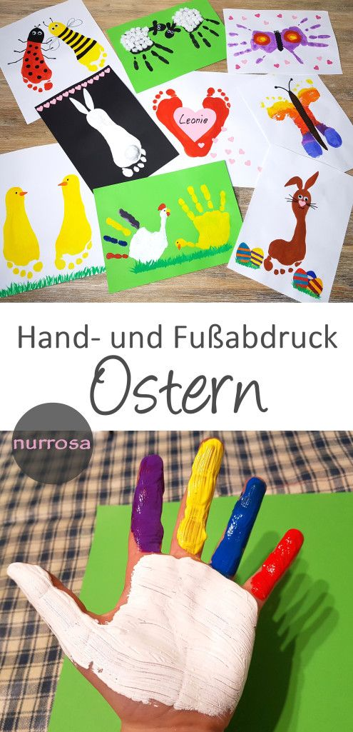 Photo of Handprint and footprint for Easter DIY Encourages our children's creativity …