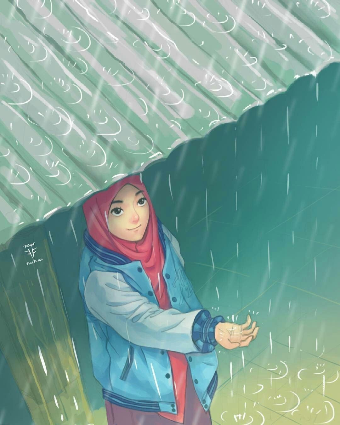 #muslimh #rain #peace (Dengan gambar)   Gadis animasi ...