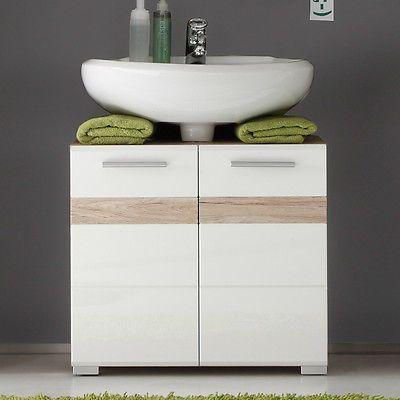 Details zu Badezimmer Waschbeckenunterschrank Hochglanz weiß Eiche - villeroy und boch badezimmermöbel