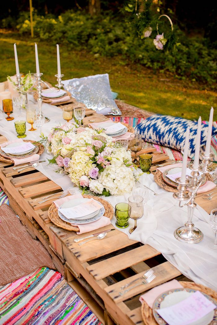 0595c727d41b Low seated pallet board dining table from a Boho Midsummer Nights Soiree on  Kara s Party Ideas