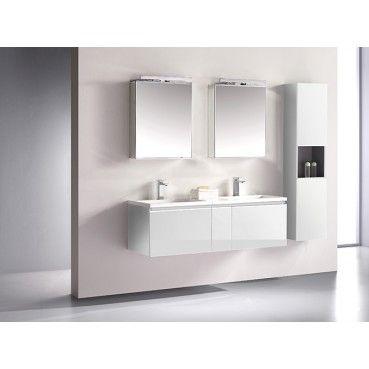 Nice Badm bel G ste WC COSMA cm Doppelwaschbecken Spiegelschr nke wei hochglanz hgl