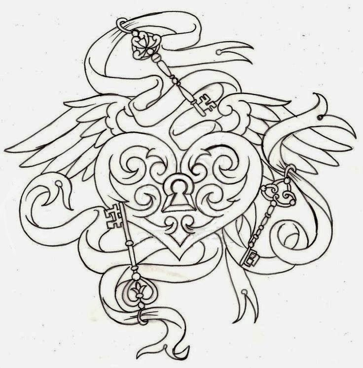 Heart Shaped Locket Tattoo Stencil | Key heart and wings ...
