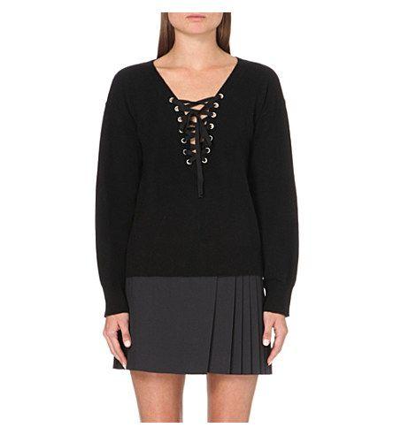 THE KOOPLES - Lace-up wool and cashmere-blend jumper | Selfridges.com